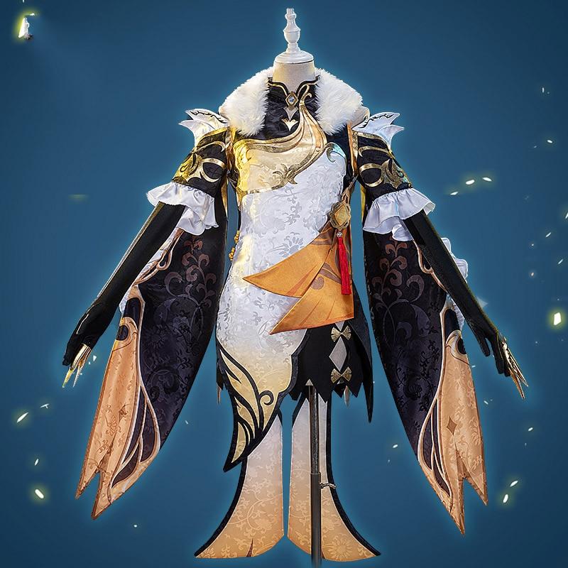 Anime Genshin Impact Ningguang Cheongsam Game Suit Gorgeous Dress Uniform Cosplay Costume Halloween Outfit For Women Girls New 2 1