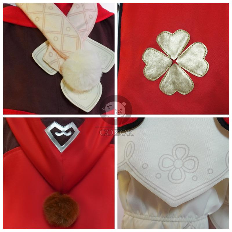 Genshin Impact Cosplay Costume Klee Cosplay Costume Women Red Costume Cute Girl Halloween Dress Pants Glove Hat Full Set 5