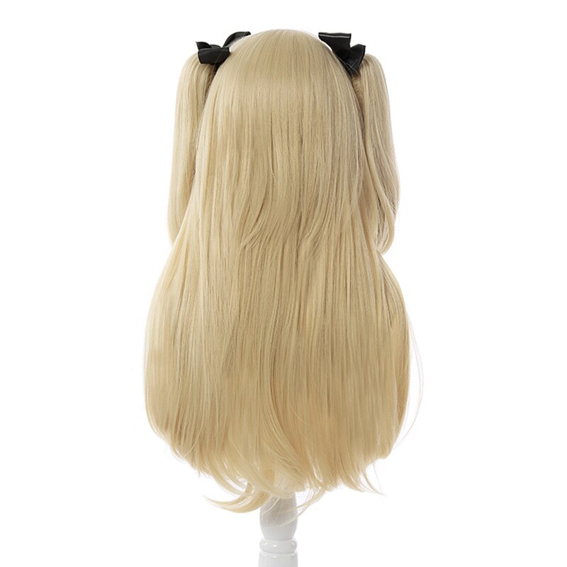 L-email wig Genshin Impact Fischl Cosplay Wig Long Light Blonde Wigs with Ponytails Heat Resistant Synthetic Hair Game Halloween 3