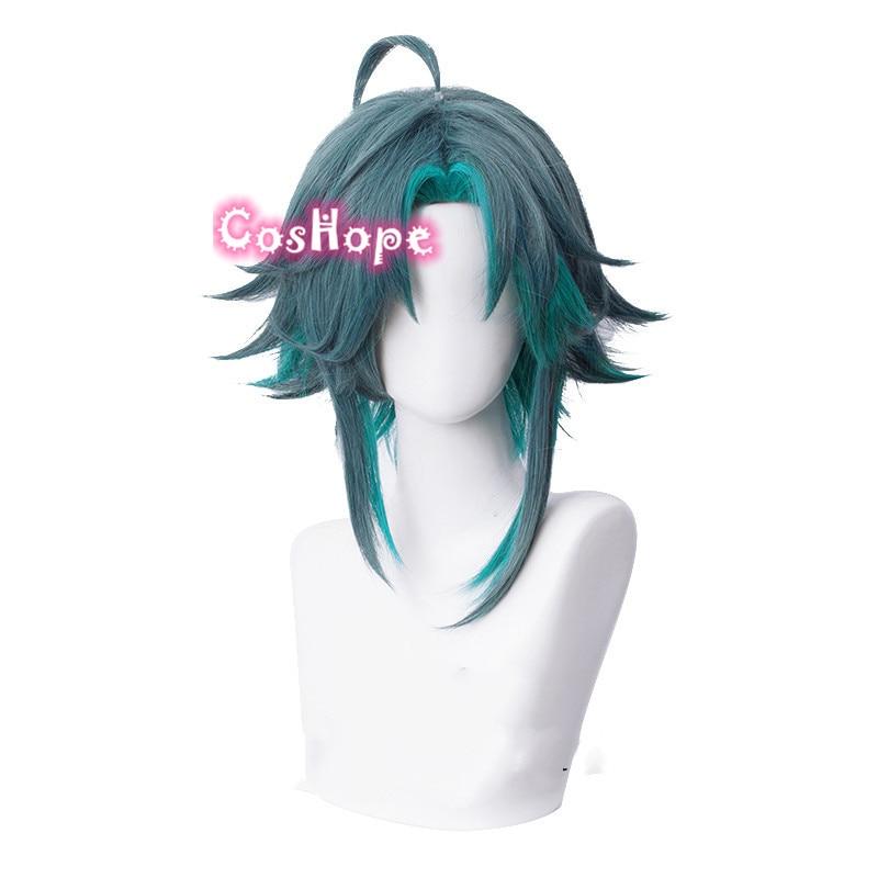 Genshin Impact Xiao Cosplay Men 40cm Green Mixed Wig Cosplay Anime Cosplay Wigs Heat Resistant Synthetic Wigs Halloween 2