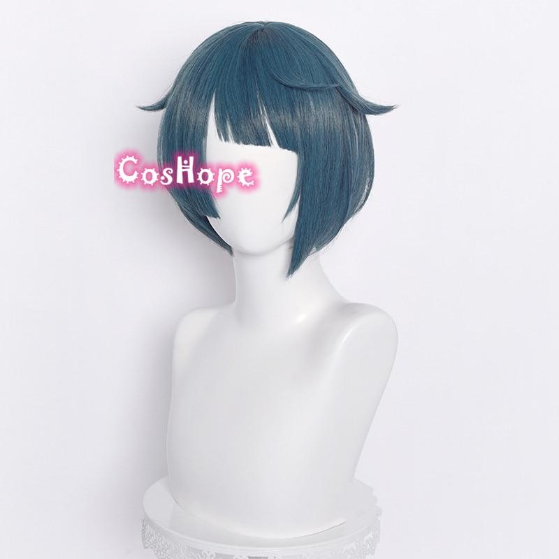 Genshin Impact Xingqiu Cosplay 30cm Wig Short Grey Blue Wig Cosplay Anime Cosplay Wigs Heat Resistant Synthetic Wigs Halloween 2