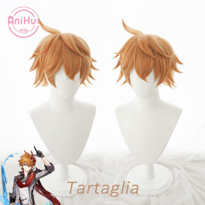 【Anihut】Tartaglia Childe Cosplay Wig Genshin Impact Cosplay Orange Heat Resistant Synthetic Hair Tartaglia Halloween Cosplay 1