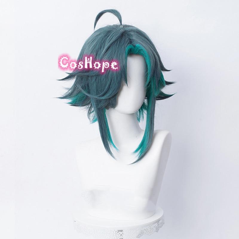 Genshin Impact Xiao Cosplay Men 40cm Green Mixed Wig Cosplay Anime Cosplay Wigs Heat Resistant Synthetic Wigs Halloween 3