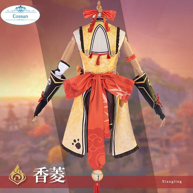 Anime Genshin Impact Xiangling Cosplay Costume Game Suit Lovely Uniform Xiang Ling Full Set Halloween Costume For Women Girls Cu 2