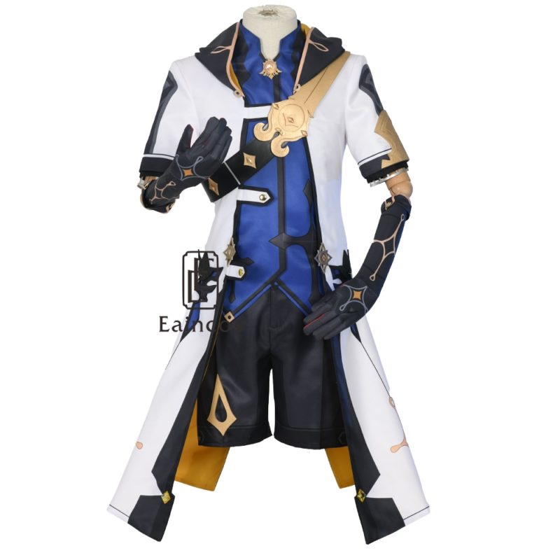 Game Genshin Impact Albedo Cosplay Costume Wigs Anime Uniforms Halloween Carnival Outfits Custom Made Men Costumes 2