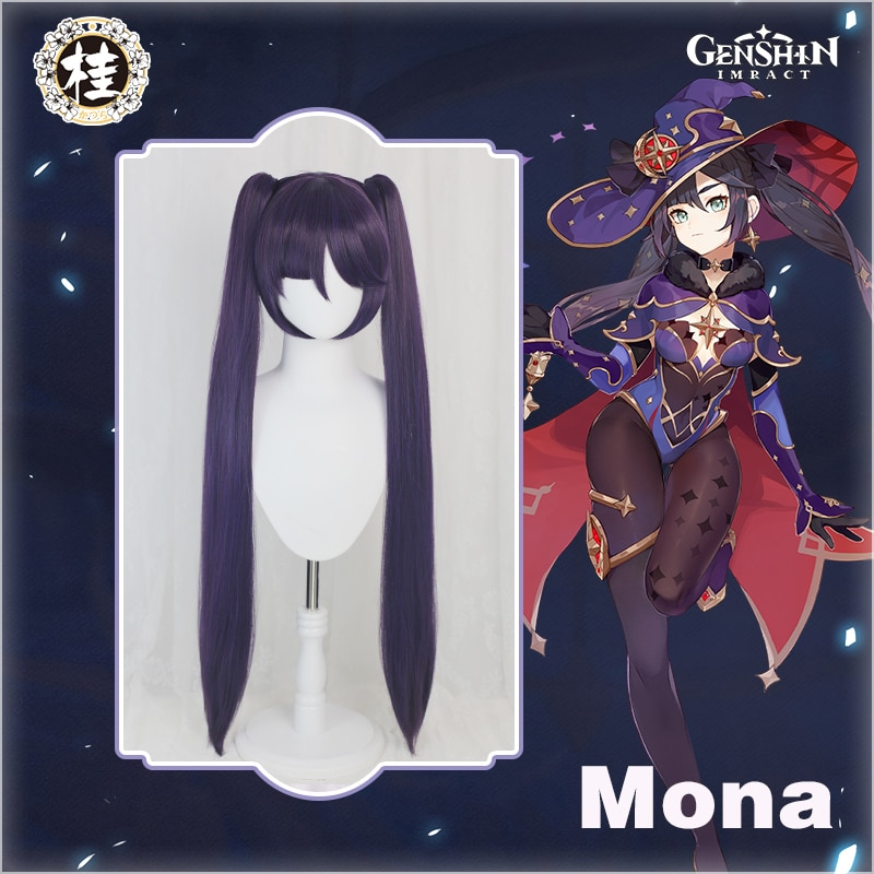 Pre-sale UWOWO Game Genshin Impact Mona Megistus Cosplay Wig Astral Reflection 90cm Purple Twin Tail Wig 1