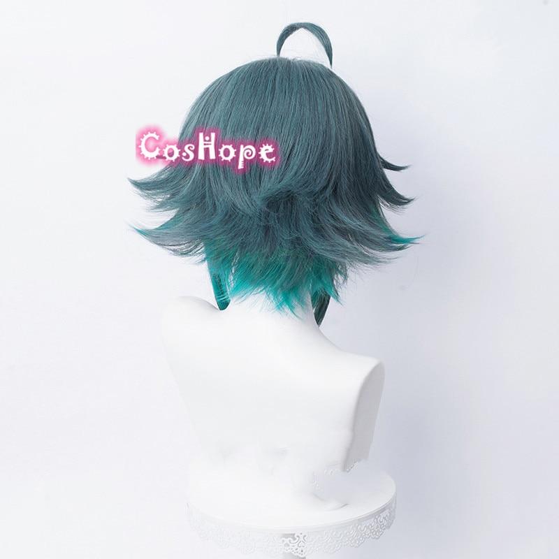 Genshin Impact Xiao Cosplay Men 40cm Green Mixed Wig Cosplay Anime Cosplay Wigs Heat Resistant Synthetic Wigs Halloween 5