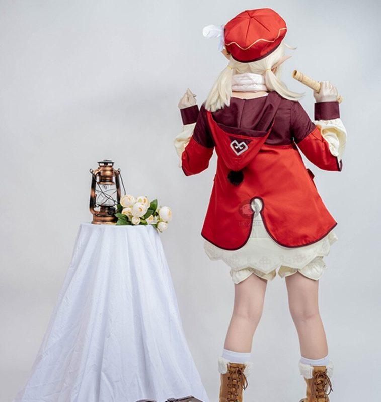 Genshin Impact Cosplay Costume Klee Cosplay Costume Women Red Costume Cute Girl Halloween Dress Pants Glove Hat Full Set 4