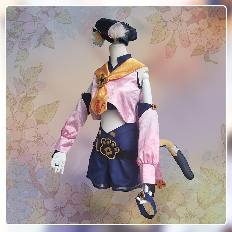 Game Genshin Impact Diona Cosplay Costume Diona Cosplay Costume Women Sexy Suit Halloween Top Shorts Sleeve Full Set 3
