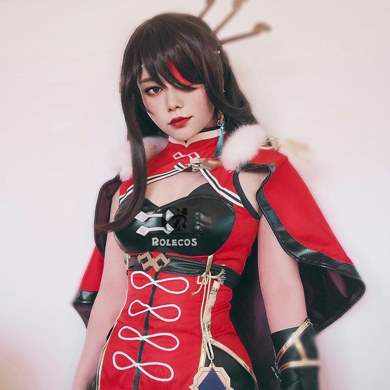 ROLECOS Genshin Impact Cosplay Costume Beidou Cosplay Costume Women Black Red Costume Halloween Dress Cloak Pants Glove Full Set 2