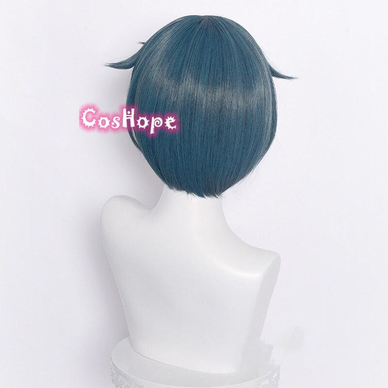 Genshin Impact Xingqiu Cosplay 30cm Wig Short Grey Blue Wig Cosplay Anime Cosplay Wigs Heat Resistant Synthetic Wigs Halloween 4