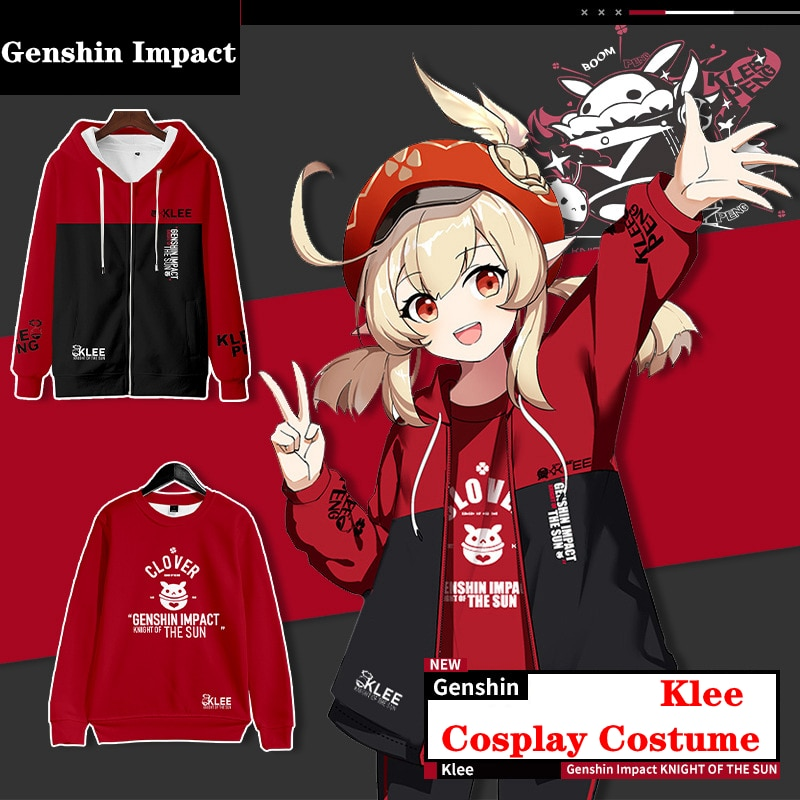 Klee Cosplay Costume Hot Game Genshin Impact Hooded Sweatshirt Anime Sports Jacket Project Print Pants Velvet Top Adult Kids Set 1