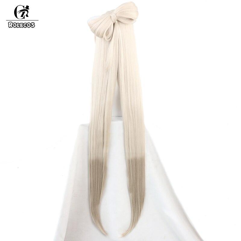 ROLECOS Game Genshin Impact Cosplay Wig Ningguang Cosplay Wig Women Brige Headwear 120CM Straight Synthetic Hair Heat Resistant 3
