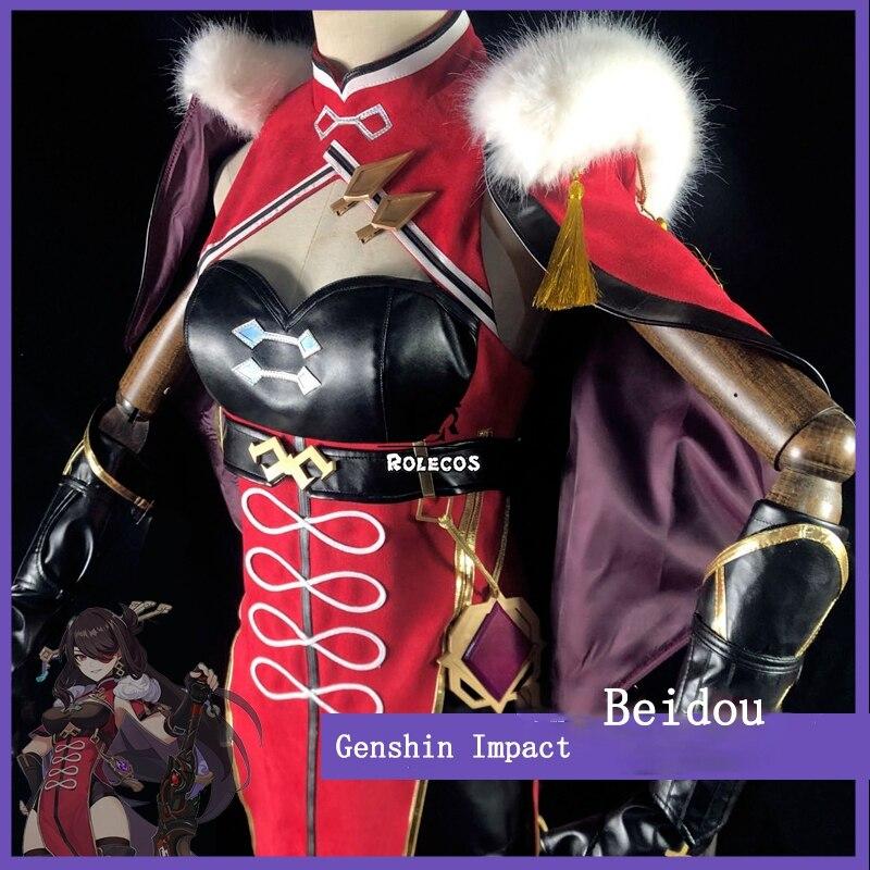 ROLECOS Genshin Impact Cosplay Costume Beidou Cosplay Costume Women Black Red Costume Halloween Dress Cloak Pants Glove Full Set 3