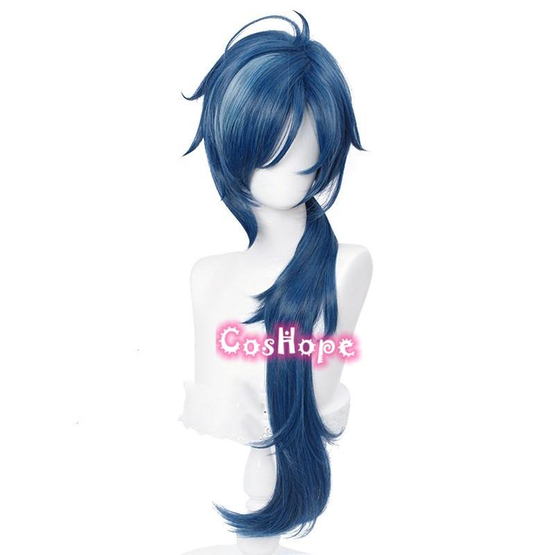 Genshin Impact Kaeya Cosplay Men 80cm Long Ink-Blue Wig Cosplay Anime Cosplay Wigs Heat Resistant Synthetic Wigs Halloween 2