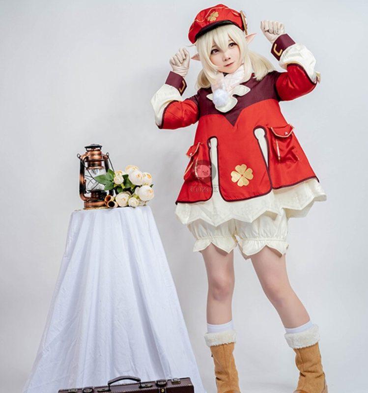 Genshin Impact Cosplay Costume Klee Cosplay Costume Women Red Costume Cute Girl Halloween Dress Pants Glove Hat Full Set 3