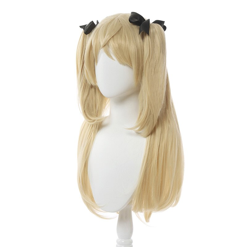 L-email wig Genshin Impact Fischl Cosplay Wig Long Light Blonde Wigs with Ponytails Heat Resistant Synthetic Hair Game Halloween 2
