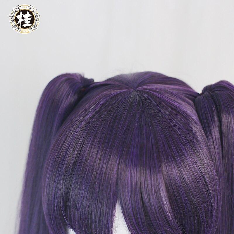 Pre-sale UWOWO Game Genshin Impact Mona Megistus Cosplay Wig Astral Reflection 90cm Purple Twin Tail Wig 4