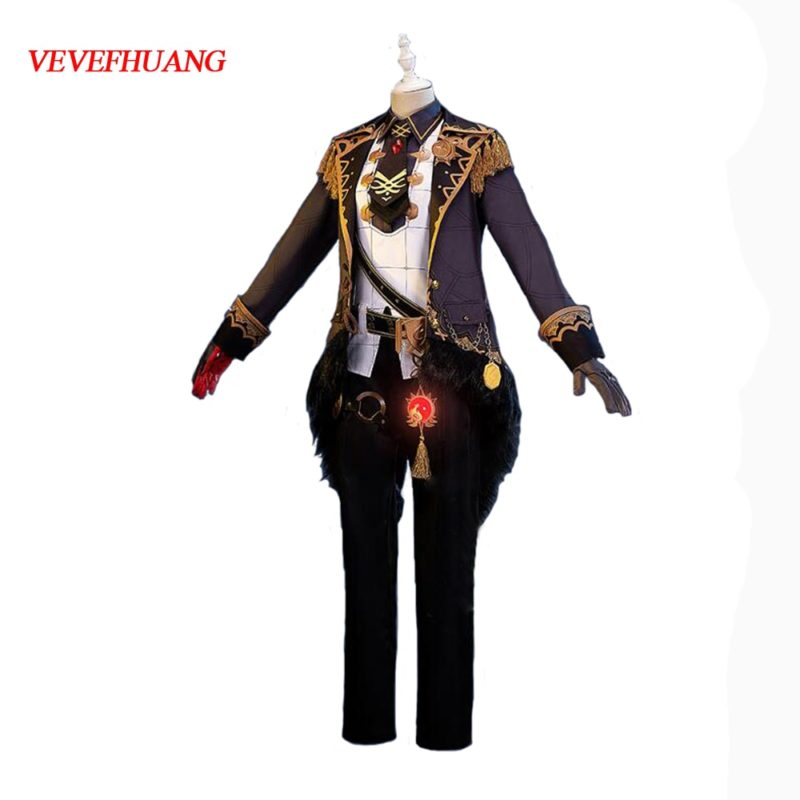 VEVEFHUANG Kосплей Genshin Impact Diluc Cosplay Costume Adult Mens Uniform Outfit Party Game Halloween Xmas Carnival Full Set 1