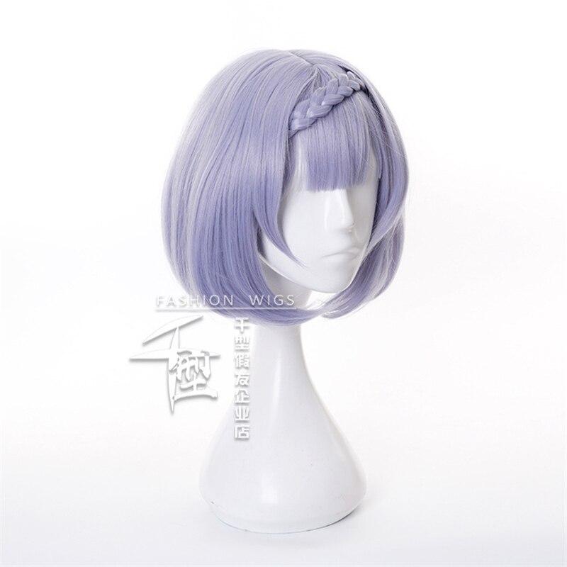 Noelle Cosplay Wig Game Genshin Impact Cosplay Short Purple Bobo Braid Hair Genshin Impact Noelle Halloween Cosplay Wigs 3