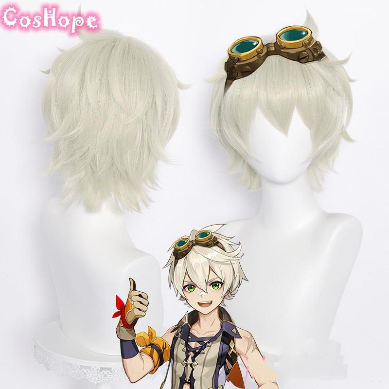 Genshin Impact Cosplay Bennett Short 30cm Wig Grey Gold Wig Cosplay Anime Cosplay Wigs Heat Resistant Synthetic Wigs Halloween 1