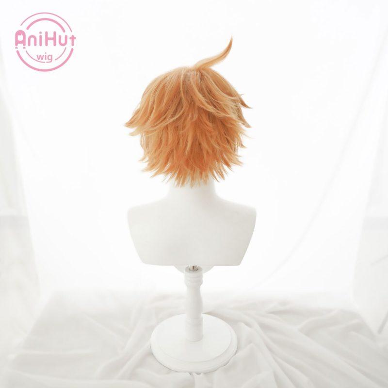 【Anihut】Tartaglia Childe Cosplay Wig Genshin Impact Cosplay Orange Heat Resistant Synthetic Hair Tartaglia Halloween Cosplay 5