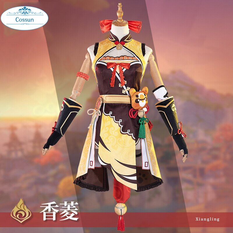 Anime Genshin Impact Xiangling Cosplay Costume Game Suit Lovely Uniform Xiang Ling Full Set Halloween Costume For Women Girls Cu 3