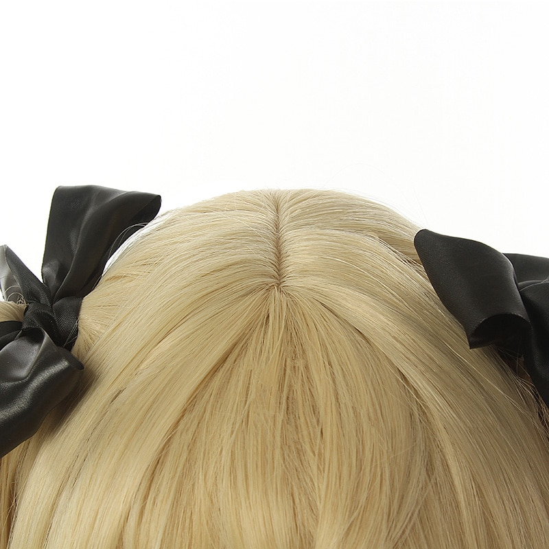 L-email wig Genshin Impact Fischl Cosplay Wig Long Light Blonde Wigs with Ponytails Heat Resistant Synthetic Hair Game Halloween 4