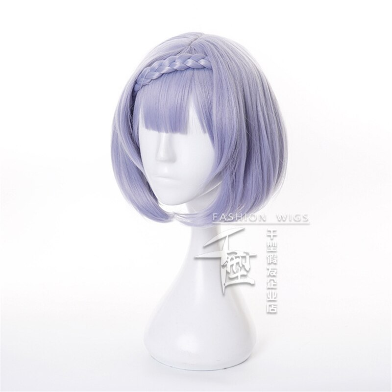 Noelle Cosplay Wig Game Genshin Impact Cosplay Short Purple Bobo Braid Hair Genshin Impact Noelle Halloween Cosplay Wigs 2