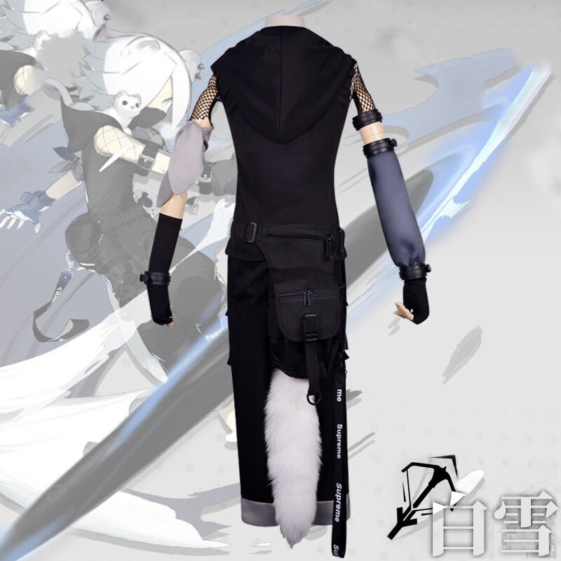 Game Arknights ShiraYuki Cosplay Costume Women Cosplay Outfit Halloween Carnival Party Costumes Full Set ShiraYuki Wig Shoes 4