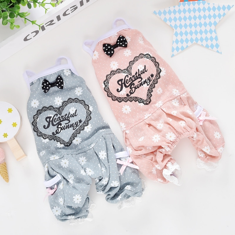 Designer Pet Clothing For Dog Animal Newest Lace Floral Yorkshire Chihuahua Summer Cooling Costume Overall For Puppy Cat Goods 1