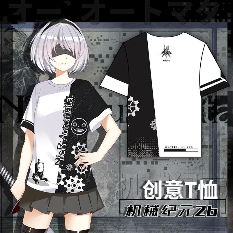 Anime NieR:Automata YoRHa NO 2B Theme Cosplay Fashion T-shirt Fashion Pullovers Short Sleeve Tee Tops Casual Summer Unisex 1