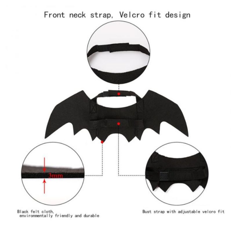 2019 New OLN Pet Dog Cat Bat Wing Cosplay Prop Halloween Bat Fancy Dress Costume Outfit Wings Cat Costumes Photo Props Headwear 3