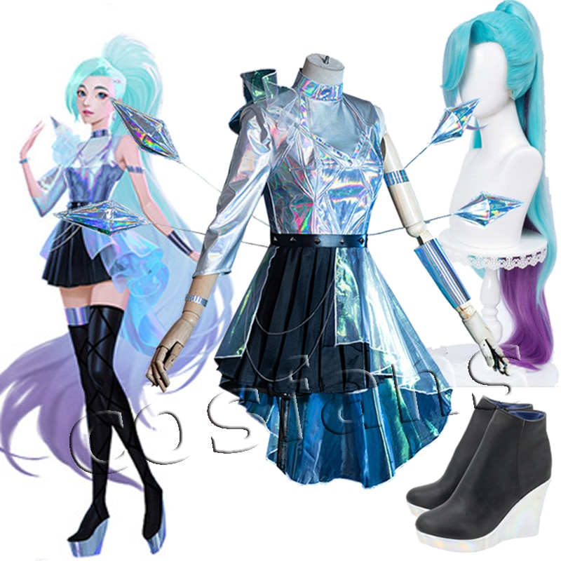 Game LOL Seraphine Cosplay Wigs LOL Cosplay KDA Seraphine Blue Purple Pink Long Gradient Heat Resistant Synthetic Hair Shoes 1