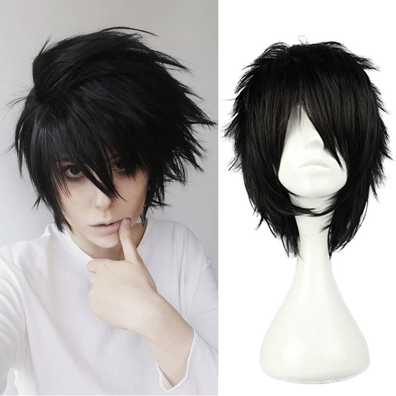 Anime Death Note L Cos Wig Mens L.Lawliet Short Black Heat Resistant Hair Pelucas Cosplay Costume Wigs + Wig Cap 1