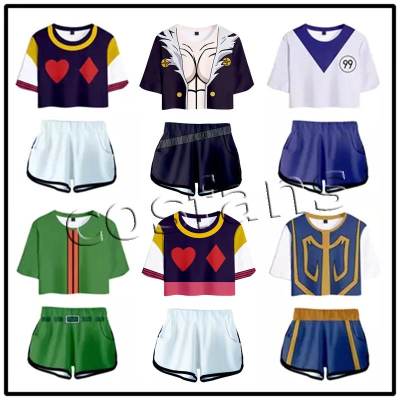 Anime Hunter X Hunter Cosplay Kurapika Killua Hisoka GON Cosplay Adult Top Shorts Tracksuit Two Piece Set Outfit Summer Clothing 1