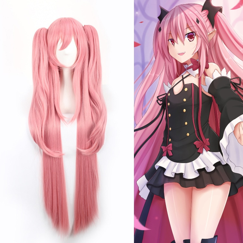 Krul Tepes 100CM Long Straight  Wig Owari no Seraph Of The End Synthetic Hair Anime Cosplay Wig Ponytail Wigs 1
