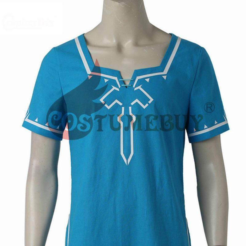 CostumeBuy Zelda shirt Breath of Wild Link blue T shirt Men cosplay Costume Blue T-Shirt Tees Cloak Halloween Unisex 4