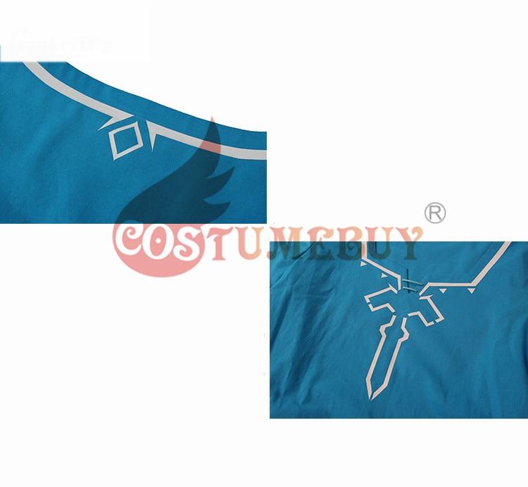 CostumeBuy Zelda shirt Breath of Wild Link blue T shirt Men cosplay Costume Blue T-Shirt Tees Cloak Halloween Unisex 6