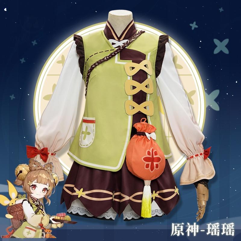 Game Genshin Impact YaoYao Skin Lolita Dress Cute Uniform Loli Outfit Cosplay Costume Women Halloween Yaoyao Cosplay Wig Shoes 2