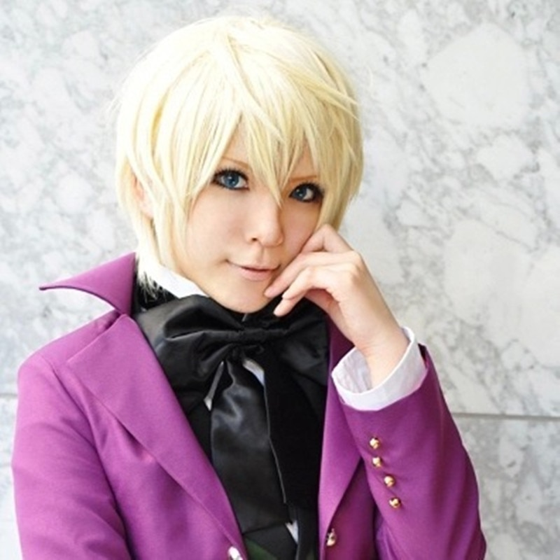Alois Trancy Cosplay Black Butler Cosplay Short Blond Hair Wigs Cosplay Anime Cosplay Wig Heat Resistant Synthetic Wigs 1