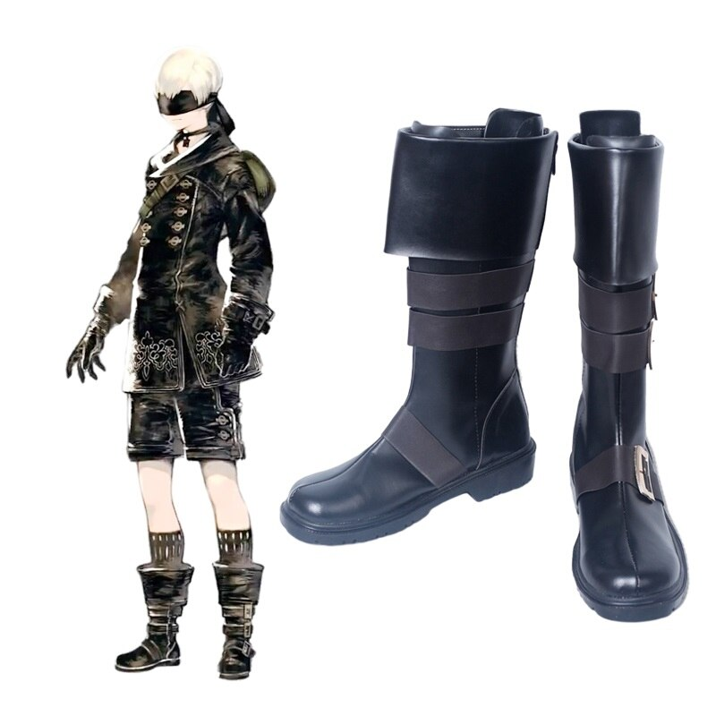 New Game Nier Automata Cosplay Shoes YoRHa 9S PU Leather Cosplay Boots Black Zipper-up Halloween Carnival Party Shoes Size 35-47 1
