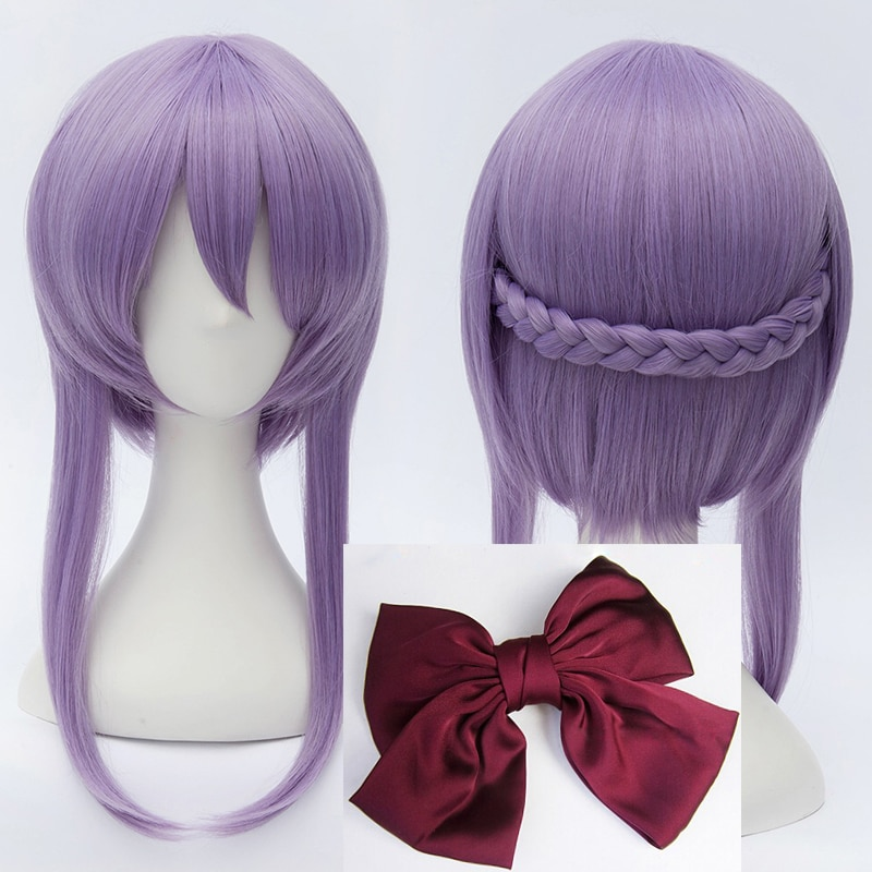 Seraph of the end Hiiragi Shinoa Wigs Light Purple Heat Resistant Synthetic Hair Perucas Cosplay Wig + Wig Cap + Bowknot Hairpin 1