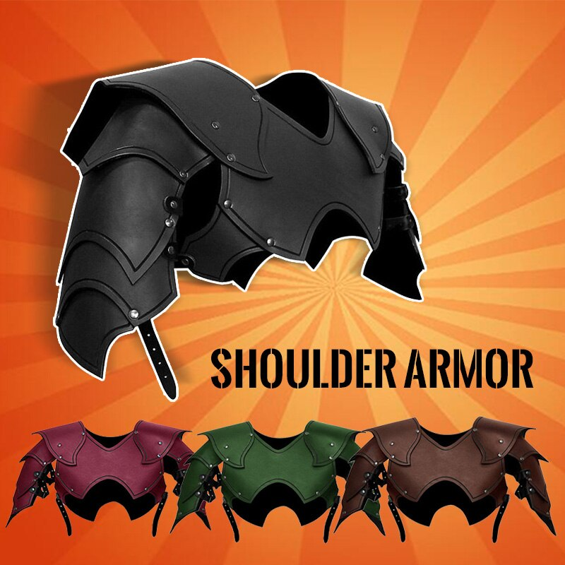 Men Medieval Costume Armors Cosplay Accessory Gothic Knight Warrior PU Leather Harness Rome Fencer Gladiator Shoulder Pauldrons 2