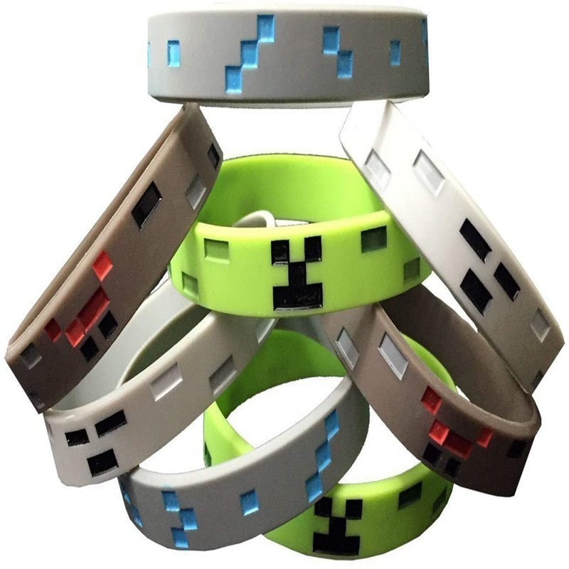 Minecraft around game  Theme Party Decoration Birthday Party Bracelet Pixel Miner Wristband Set creative gift for children 1