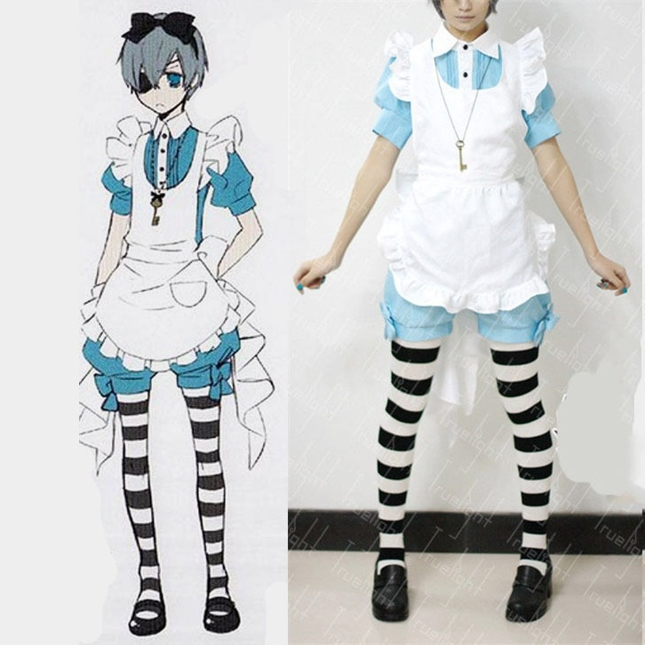 Free Shipping Lolita Maid Outfit Black Butler Ciel Phantomhive Cosplay Costume halloween servant girl housemaid costume 1