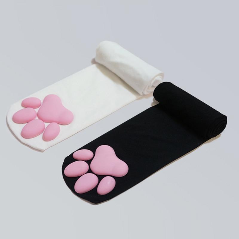 2021 Over Knee Kawaii 3D Cat Pad Kitty Paw Socks Girl Lolita Cosplay Velvet Leggings Thigh High Long Stockings Cat Claw Socks 1