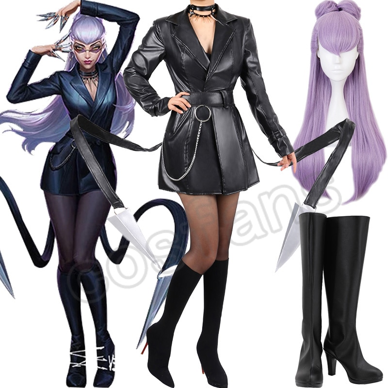 KDA Evelynn Cosplay Costume LOL KDA Cosplay Wigs Game Baddest Evelynn Costume Sexy Suit Women Cosplay Halloween Glasses Shoes 1