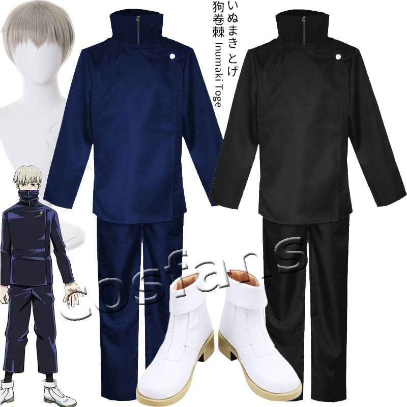 Adult Kids Jujutsu Kaisen Anime Toge Inumaki Cosplay Costume Wig Top+Pants Halloween Christmas Party School Uniform Outfits Wigs 1