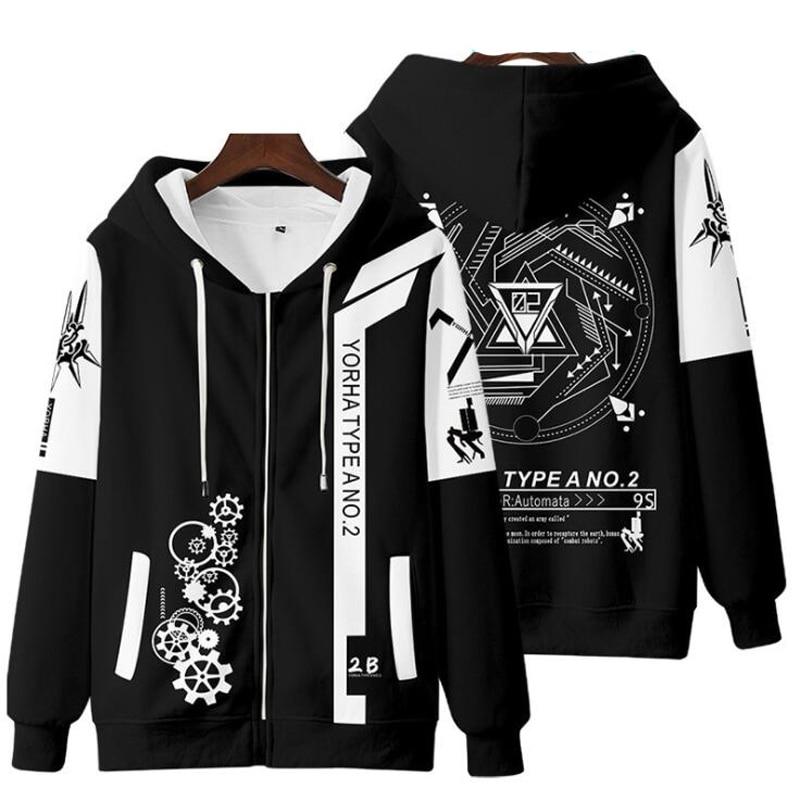 Anime NieR Automata 2B YoRHa No. 2 Type B 9S YoRHa No. 9 Type S Cosplay Costume Unisex 3D Hoodie Zipper Hooded Jacket Outwear 1